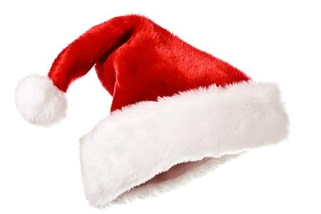 모자: Santas red hat isolated on white 스톡 사진