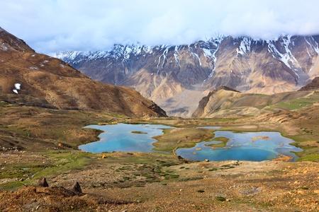 pradesh: Mountain lakes in Spiti Valley in Himalayas. Himachal Pradesh, India