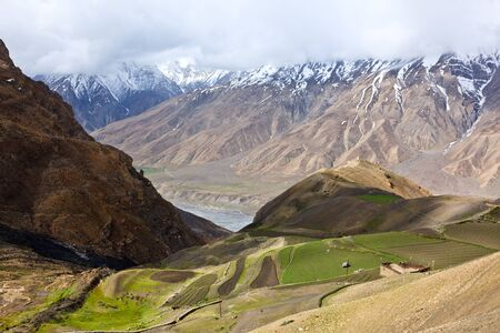 Stock Photo: Fields in Spiti Valley in Himalayas. Himachal Pradesh, India
