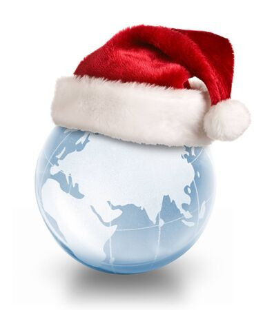 Christmas planet concept - Santa hat on crystal glass globe isolated on white background Stock Photo - 10745923