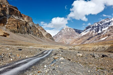 earthroad: Road in mountains (Himalayas). Spiti Valley,  Himachal Pradesh, India Stock Photo