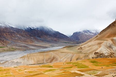 horizontals: Fields in Spiti Valley in Himalayas. Himachal Pradesh, India Stock Photo