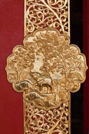 portals: Door decoration in Buddhist Monastry. Kaza, Spiti Valley, Himachal Pradesh, India