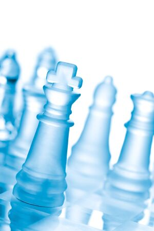Glass chess on chess board Stock Photo - 10854393