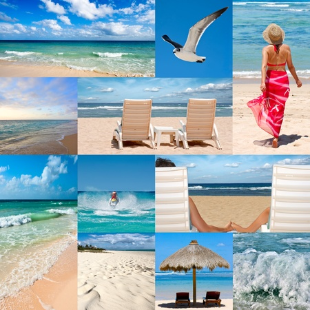 moto acuatica: Collage de fotos sobre vacaciones de playa Foto de archivo