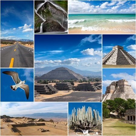 pre columbian: Collage of Mexico photos Stock Photo