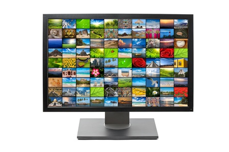 Modern LCD HDTV screen with image gallery isolated on white background Stock Photo - 10883174