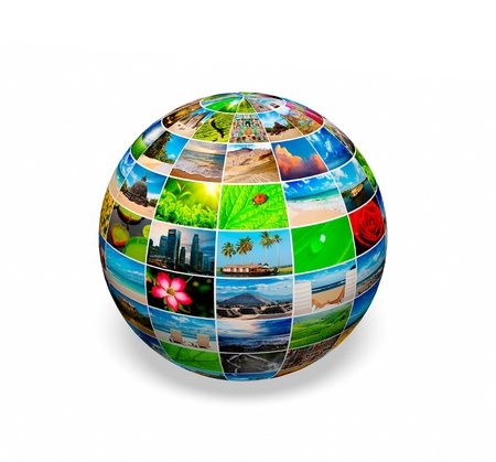 slideshow: Concept  - photo (picture) globe on white background with shadow Stock Photo