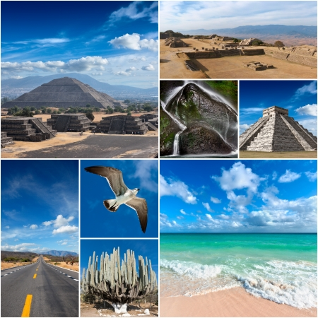 mayan riviera: Mexico images collage Stock Photo