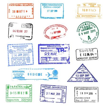 aduana: Sellos de pasaporte Vectores
