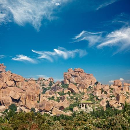 karnataka: Antiguas ruinas de Hampi. Karnataka, India