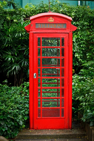 communications tools: Red English telephone booth Stock Photo