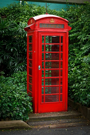 Red English telephone booth photo