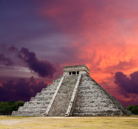 chichen itza: Mayan pyramid of Kukulcan El Castillo on sunset. Chichen-Itza, Mexico