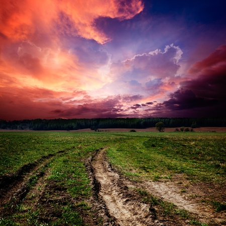 Countryside landscape with dirt  road photo