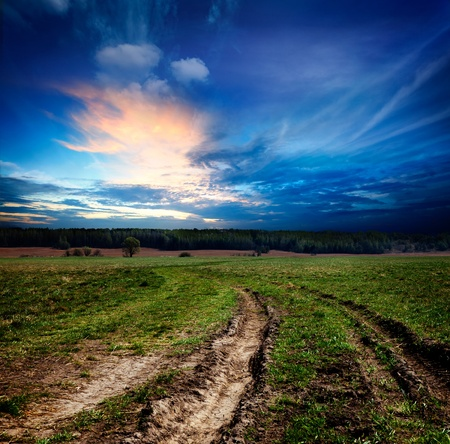 Countryside landscape with dirt  road Stock Photo - 11547120