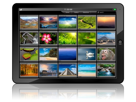 galeria fotografica: Tablet PC con galer�a de fotos Foto de archivo
