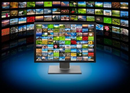 streaming: Monitor with images on multimedia background Stock Photo