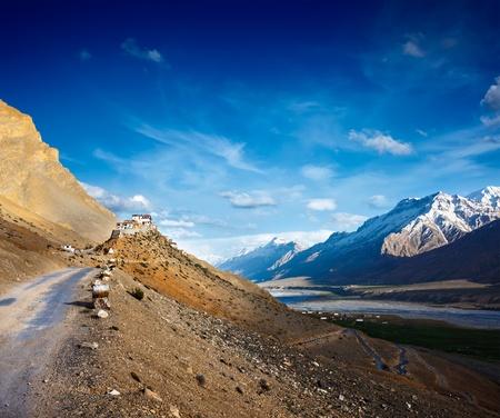 monastery nature: Road to Ki Monastery. Spiti Valley,  Himachal Pradesh, India Stock Photo