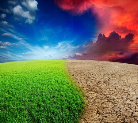 change concept: Ecolog�a del paisaje - el concepto de cambio clim�tico, la invasi�n del desierto