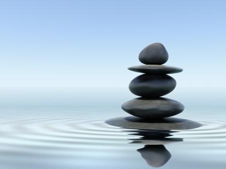 Zen stenen in het water