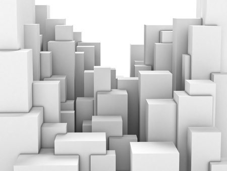 impersonal: Abstract city of featureless white blocks Stock Photo