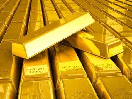 Stacks of gold bars close up photo