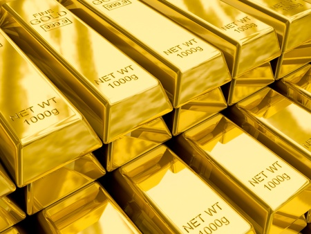 Stacks of gold bars close up photo