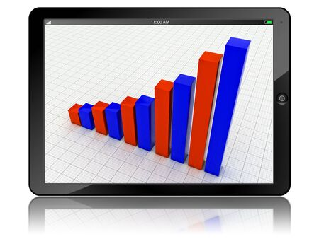 Tablet PC with business growth graph isolated Stock Photo - 12635670
