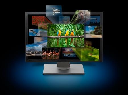 downloading content: 3d television tv set concept