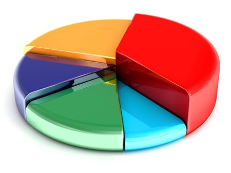 reflective background: Colorful pie chart