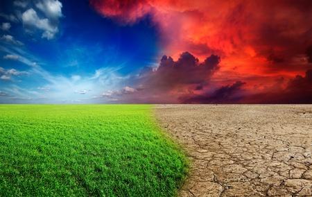 Ecology landscape - climate change concept, desert invasion 스톡 콘텐츠