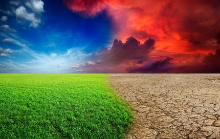 Ecologie landschap - klimaatverandering concept, woestijn invasie Stockfoto