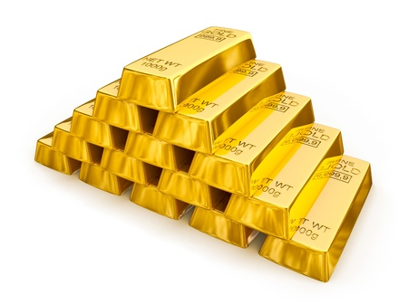 Gold bars pyramid isolated photo