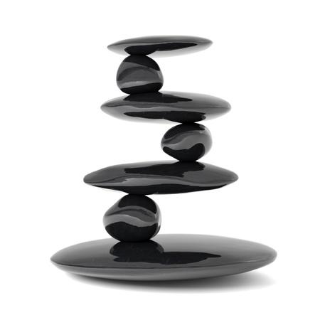 piedras zen: Concepto de equilibrio Zen piedras aisladas en blanco Foto de archivo
