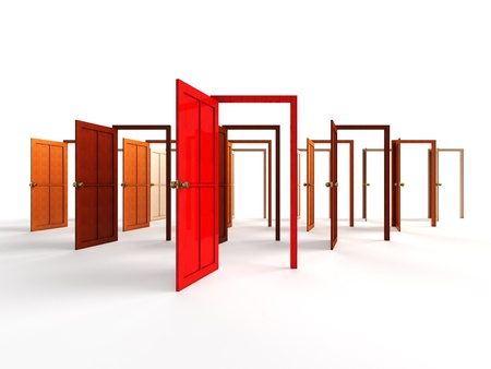 puerta abierta: - Abra las puertas de bienvenida, la elección, concepto oportunidad