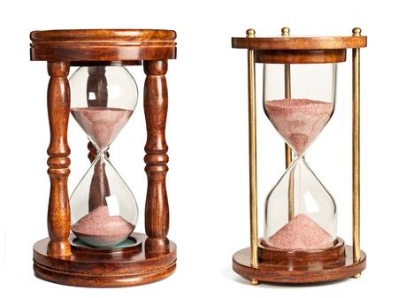 reloj de arena: Relojes de arena aisladas sobre fondo blanco Foto de archivo
