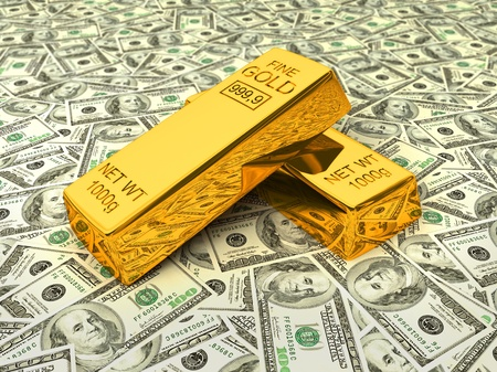 Invest in gold - bank gold bars bullions on dollars photo