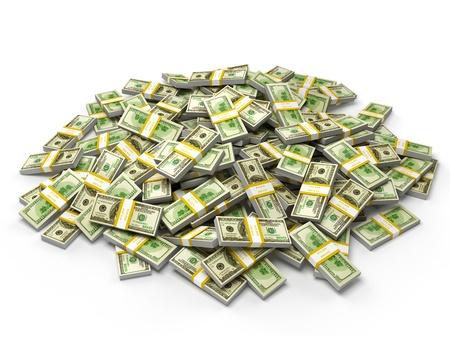 Haufen Geld-Dollar-Bundles