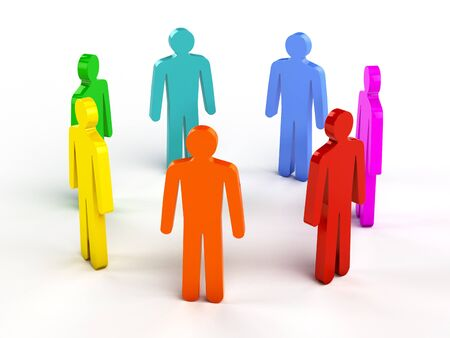 Diversity, teamwork, social network concept - colorful human figures in circle on white photo