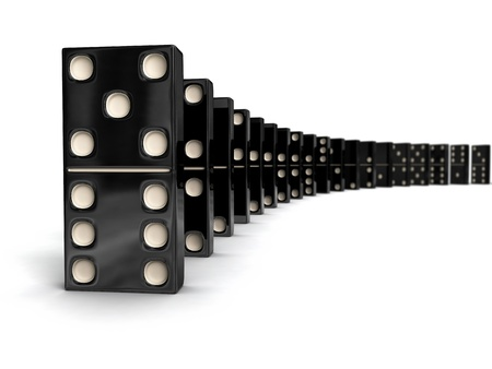 domino: Domino - row of black dominoes on white Stock Photo