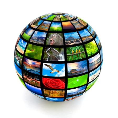 tv set: Picture globe isolated