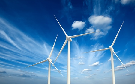 wind mill: Green renewable energy concept - wind generator turbines in sky