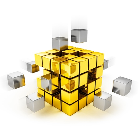 business collaboration: Teamwork concept - metal cubes assembling into gold one Stock Photo
