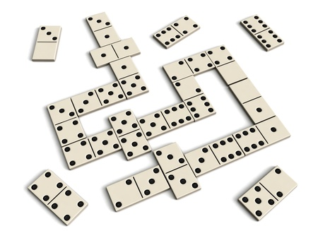 chain reaction: Domino game - white dominoes isolated on white background