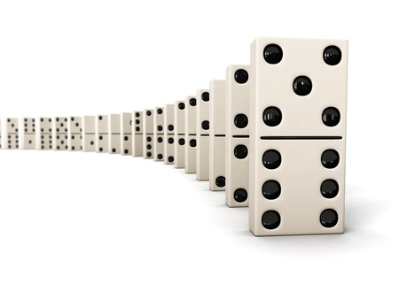 domino effect: Domino - row of white dominoes isolated on white background Stock Photo