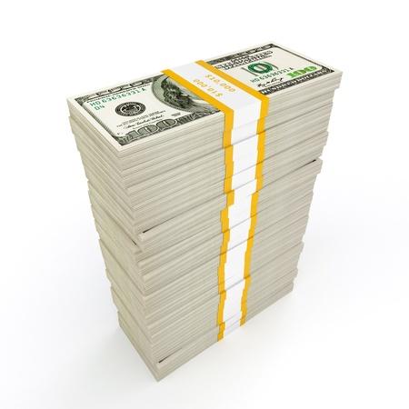 money pile: US dollars banknotes money stack on white Stock Photo