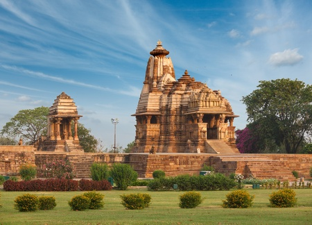 Devi Jagdamba temple and mahadev mandapa on sunrise. Khajuraho, India photo
