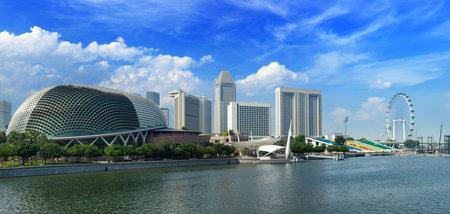 singapore city: Singapore skyline panorama at Marina Bay