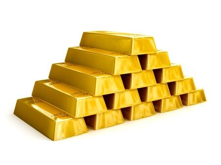 Gold bars pyramid isolated photo